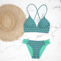 即納 A-string reversible long under bikini Green ethnic