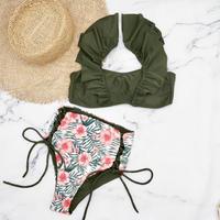 即納 V-line frill high waist reversible bikini Khaki