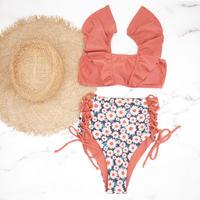 即納 V-line frill high waist reversible bikini Margaret
