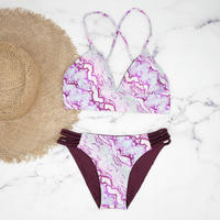 即納 A-string reversible long under bikini Pink python