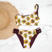 即納  One shoulder reversible tie up bikini Sunflower