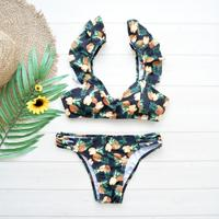 即納 Shoulder frill desing bikini Pineapple