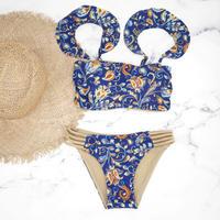 即納 Jointed frill reversible bandeau bikini Paisley