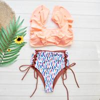 即納 V-lime frill high waist reversible bikini Neon orange
