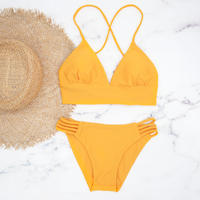 即納 A-string long under solid bikini Marigold