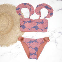 即納 Jointed frill reversible bandeau bikini Lotus