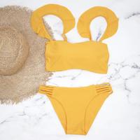 即納 Jointed frill solid bandeau bikini Yellow