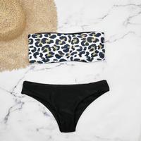 即納 Tube top reversible desing bikini Black leopard