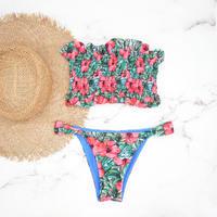 即納 Shirring bandeau brazilian bikini Hibiscus