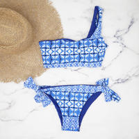即納 One shoulder reversible tie up bikini Blue tile
