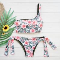 即納 One shoulder reversible tie up bikini Hibiscus