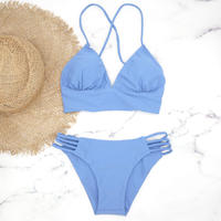 即納 A-string long under solid bikini  Laguna blue