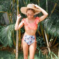 即納 V-line frill high waist reversible bikini Bright