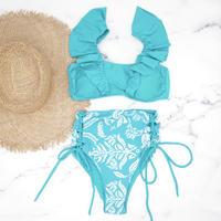 即納 V-line frill high waist reversible bikini Pure blue