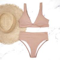 即納 Rib knit style high waist bikini Nude