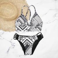 即納 A-string reversible long under bikini Black ethnic