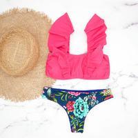 即納 V-line frill shoulder desing bikini Deep rose