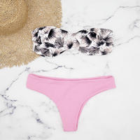 Short frill reversible bandeau bikini Pink back