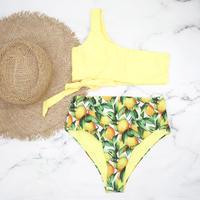 即納 One shoulder high waist bikini Citrus yellow