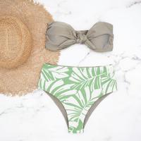 即納 High waist ribboned bandeau bikini Ash leaf