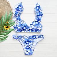 即納 Shoulder frill desing bikini Blue flower