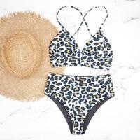 即納 A-string high waist long under bikini Grey leopard