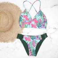 即納 A-string reversible long under bikini Hawaiian green