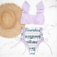 即納 V-line frill high waist reversible bikini  Mauve marble