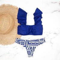 即納 V-line frill shoulder desing bikini Ortega blue