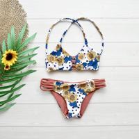 即納 Kids size A-string reversible bikini Tropical