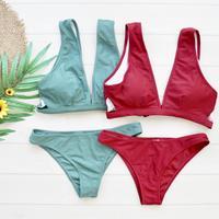 即納 Twin color back cover up bikini Green/Red