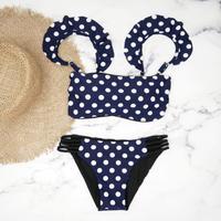 即納 Jointed frill reversible bandeau bikini Dot