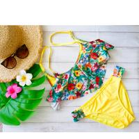 即納 Frill bikini Yellow tropical