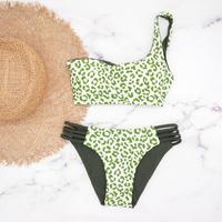 即納  One shoulder reversible tie up bikini Mint leopard