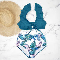 即納 Leaf desing high waist shoulder frill bikini