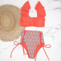 即納 V-line frill high waist reversible bikini Orange red