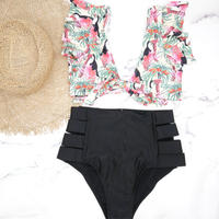 即納 High waist frill desing bikini Tropical