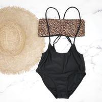 即納 Separate desing bandeau bikini Clash leopard