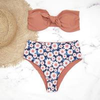 【訳あり】即納 High waist ribboned bandeau bikini Flower
