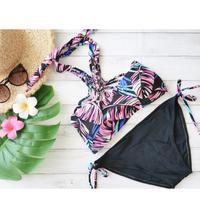 即納 Crochet high neck bikini  Neon leaf
