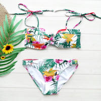 即納 Shoulder ribboned bandeau bikini Nature