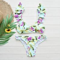 即納 Shoulder frill desing bikini Bright