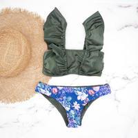 即納 V-line frill shoulder desing bikini  Botanical khaki
