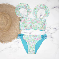 即納 Jointed frill reversible bandeau bikini Sky flower