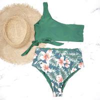 即納 One shoulder high waist bikini Green Hibiscus