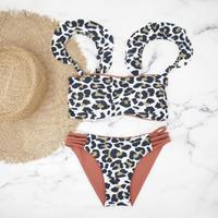 即納 Jointed frill reversible bandeau bikini Leopard