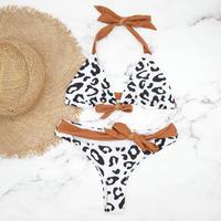 即納 Ribboned style triangle bikini Brown leopard