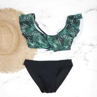 即納 3way frill desing bikini Green leaf