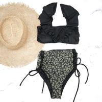 即納 V-line frill high waist reversible bikini Paint