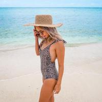 即納 Cross frill strap one piece bikini Clash leopard